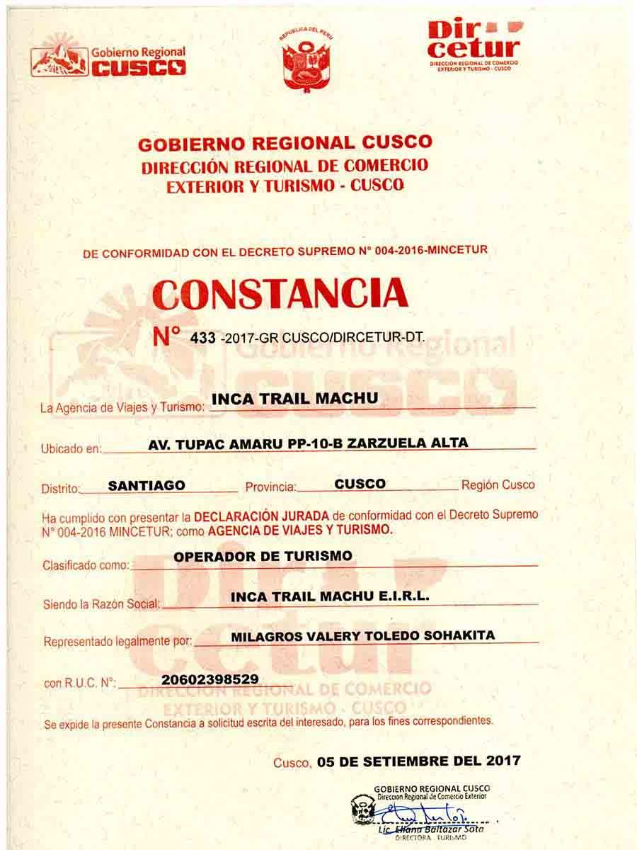 Dircetur Cusco Inca Trail Machu Tour Operator
