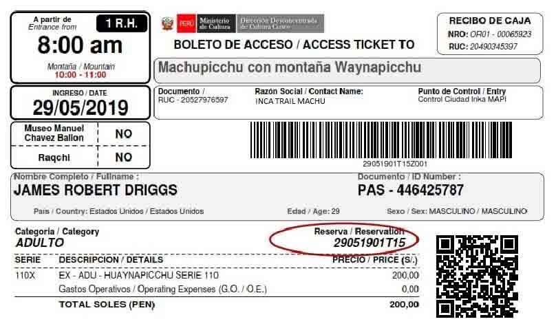 Huayna Picchu and Machu Picchu Tickets