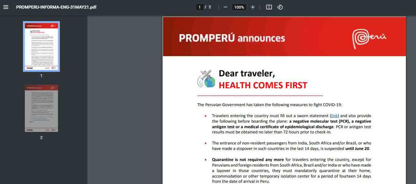 Machu Picchu Travel restrictions